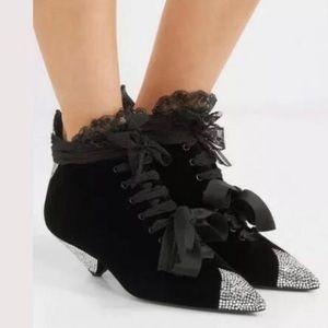 Saint Laurent Blaze Crystal Velvet Ankle Boots NIB